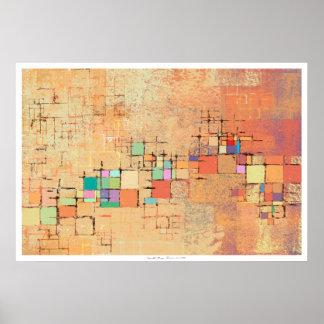 Orange Lattice Harmony Abstract Print