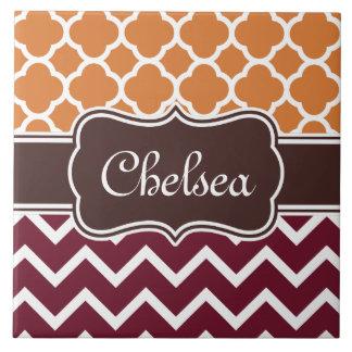 Orange Lattice Maroon Chevron Patterns Brown Name Tile