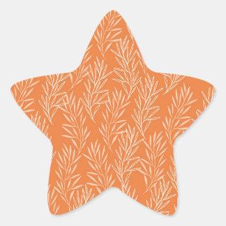 Orange Laurel Background Star Sticker