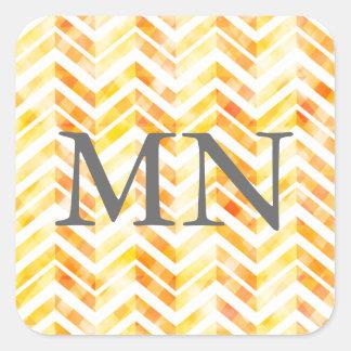 Orange Layered Chevron Monogram Square Sticker