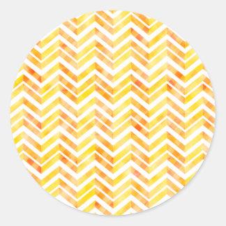 Orange Layered Chevron Round Sticker