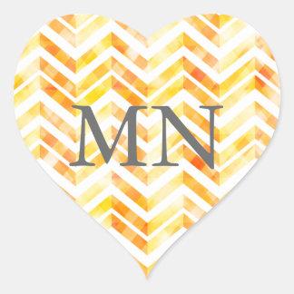 Orange Layered Chevron with Monogram Heart Sticker