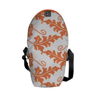 Orange Leaf Bold Botanical Nature Pattern Courier Bags