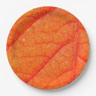 Orange Leaf Fall Photo Rustic Autumn Wedding 9 Inch Paper Plate