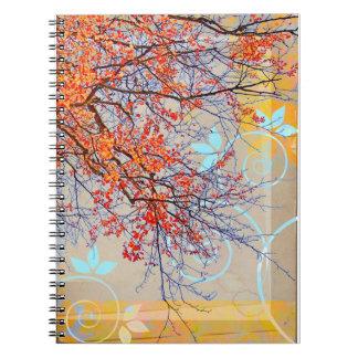 Orange leaves, grunge design spiral note books