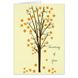 Orange Leaves Tree Greeting Card