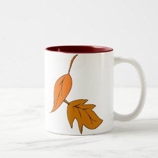 Orange Leaves Two-Tone Mug