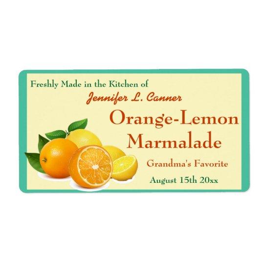 Orange Lemon Marmalade Preserves Canning Jar Shipping Label