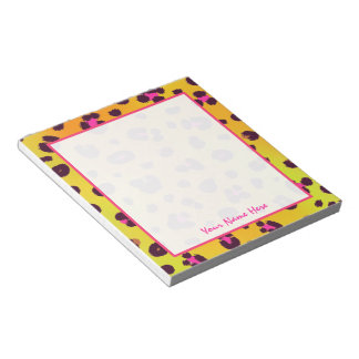 Orange Leopard Personalized Notepad