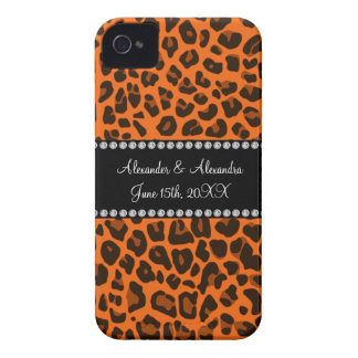 Orange leopard print wedding favors iPhone 4 Case-Mate cases