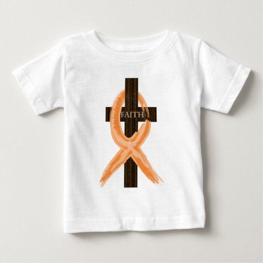 Orange Leukaemia Survivor's Cross of Faith Baby T-Shirt