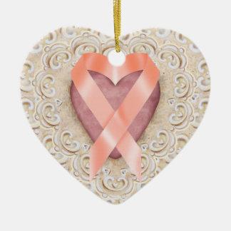 Orange Leukemia Ribbon From the Heart - SR Ceramic Heart Decoration