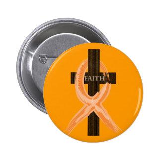 Orange Leukemia Survivor's Cross of Faith 6 Cm Round Badge