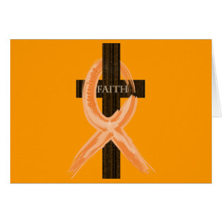 Orange Leukemia Survivor's Cross of Faith Greeting Card