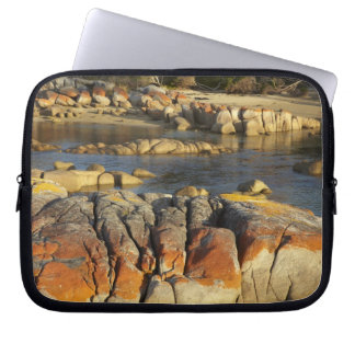Orange Lichen on Rocks, Binalong Bay, Bay of Laptop Sleeve