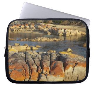 Orange Lichen on Rocks, Binalong Bay, Bay of Laptop Sleeves