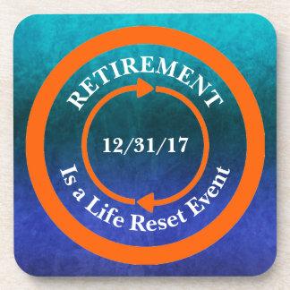 Orange Life Reset Icon Retirement Date Beverage Coasters