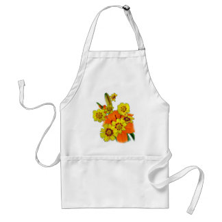 orange lily and daisy flowers aprons