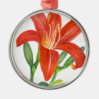 Orange Lily Botanical Illustration Christmas Ornament