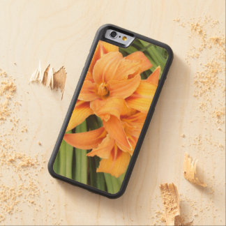 Orange Lily Carved Maple iPhone 6 Bumper Case