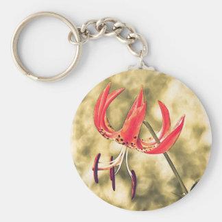Orange Lily Flower Basic Round Button Key Ring