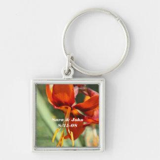 Orange Lily Flower Wedding Date Keychain