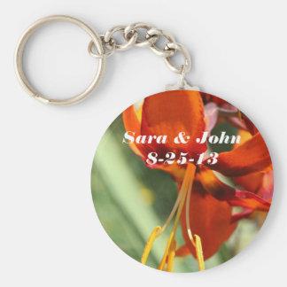 Orange Lily Flower Wedding Favor Keychain