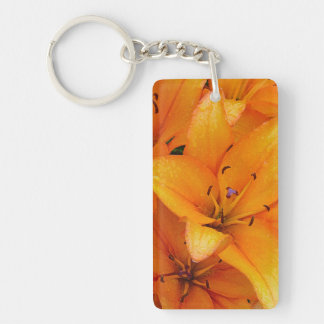 Orange lily flowers design keychain