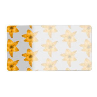 Orange Lily Flowers on Light Gray.