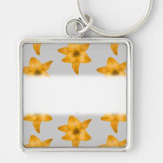 Orange Lily Flowers on Light Gray. Keychain