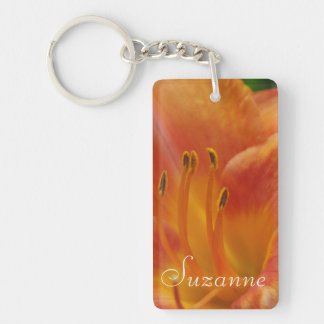 Orange Lily in Detail Double-Sided Rectangular Acrylic Key Ring