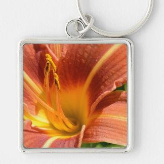 Orange Lily Silver-Colored Square Key Ring