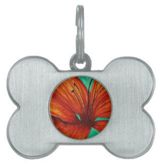 Orange Lily Pet ID Tag
