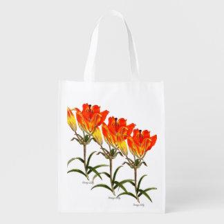 Orange Lily Reusable Grocery Bag