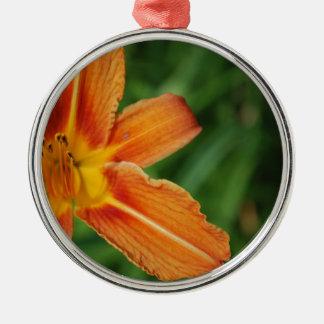Orange lily Silver-Colored round decoration