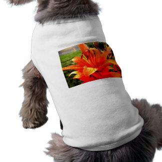 Orange Lily Sleeveless Dog Shirt