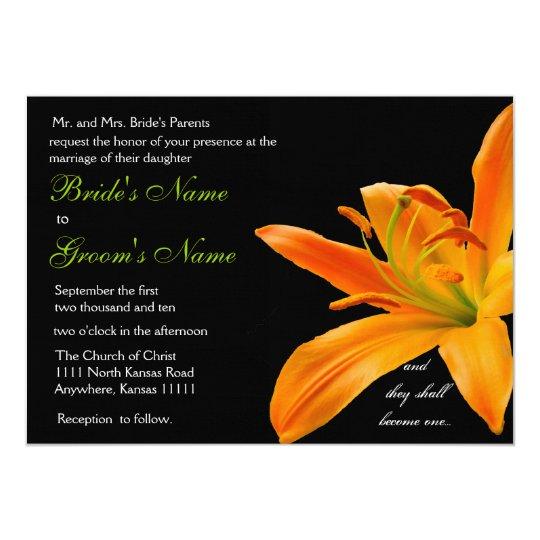 Orange lily Wedding Card
