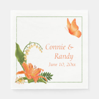 Orange Lily Wedding Napkin Disposable Napkins