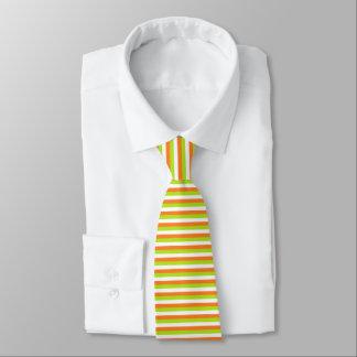 Orange, Lime Green and White Stripes Tie