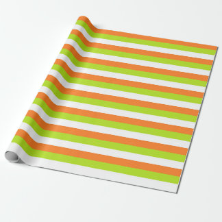 Orange, Lime Green and White Stripes Wrapping Paper