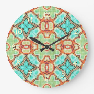 Orange Lime Green Retro Nouveau Mosaic Pattern Wall Clocks