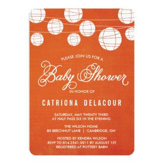 Orange Linen Lantern Baby Shower Invitation