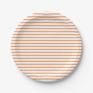 Orange Lines White Paper Plate