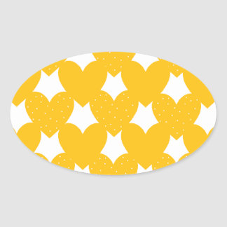 Orange Linked Hearts Oval Sticker