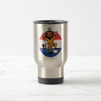 Orange lion soccer hero stainless steel travel mug