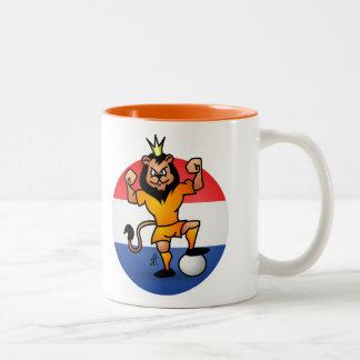 Orange lion soccer hero Two-Tone mug