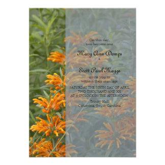 Orange Lions tail Wedding Invitation
