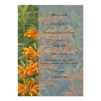 Orange lions tail Wedding Menu Invite