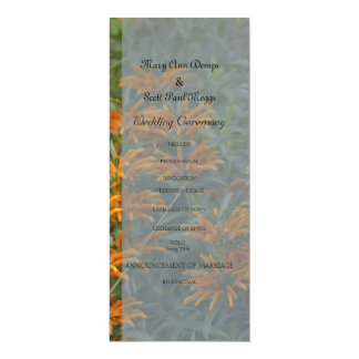Orange Lions tail wedding program 10 Cm X 24 Cm Invitation Card