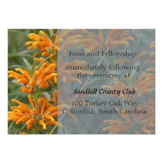 Orange Lions tail Wedding Reception card Invites